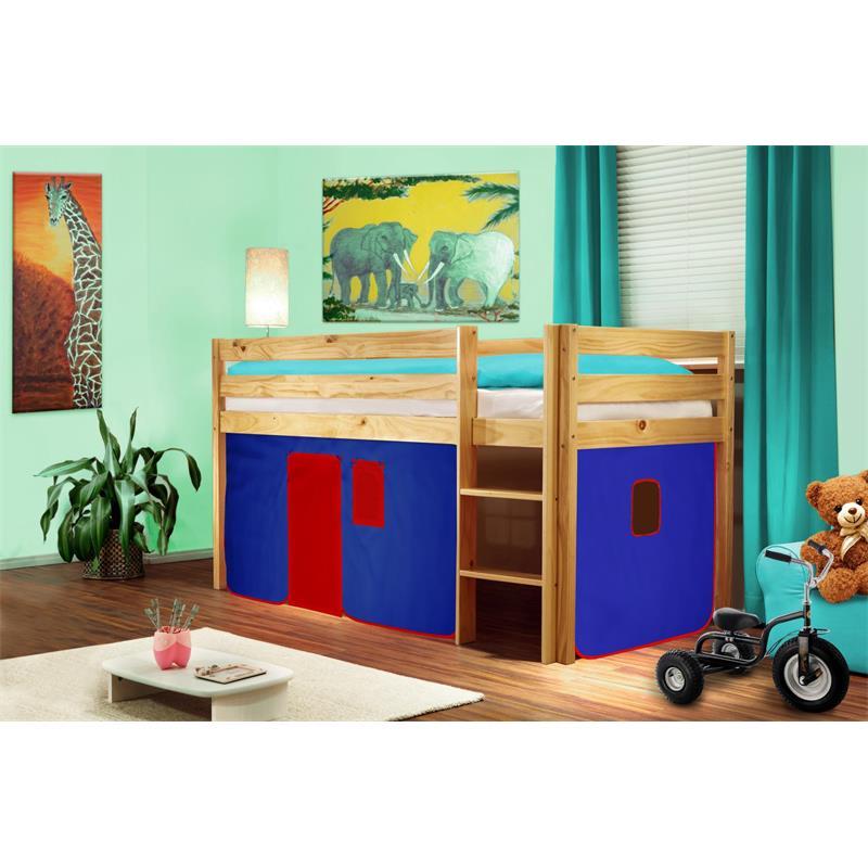 Cama alta de niños cama de juego pino maciza natural/barnizado Azul/Rojo V2 SHB/22/1035
