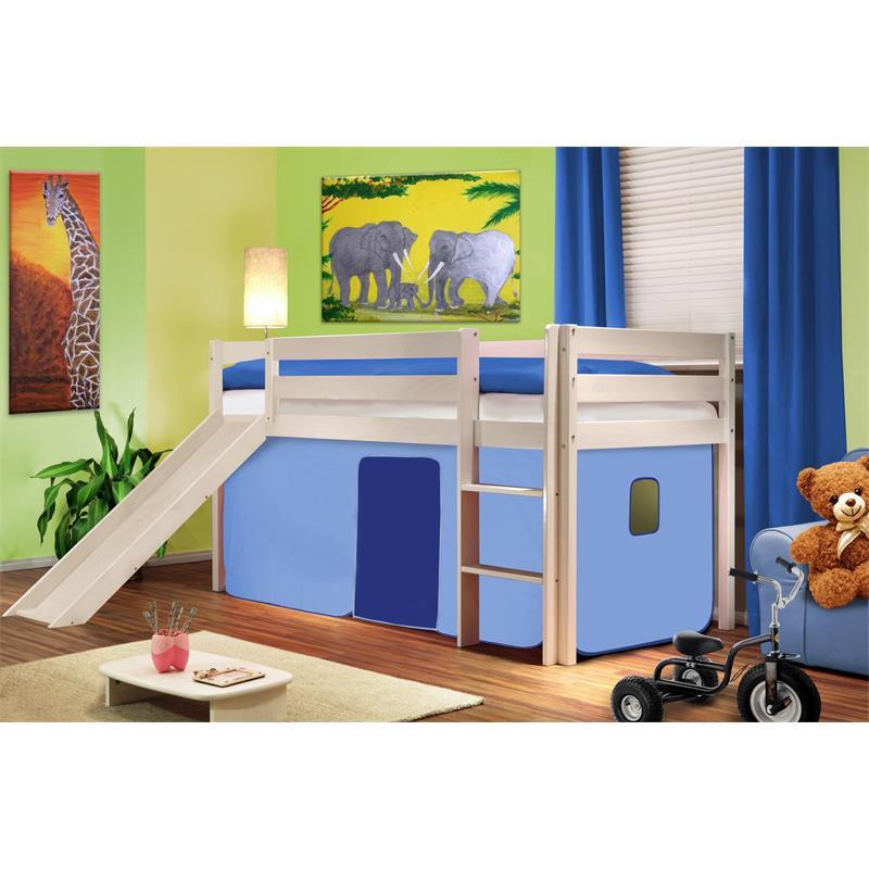 Children's Loft Bed With Slide Solid Pine Wood Light Blue SHB/26/1032