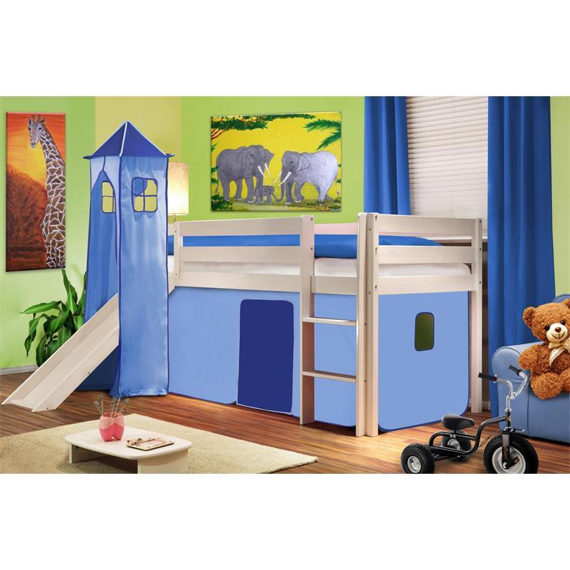 Hochbett Kinderbett Spielbett mit Turm und Rutsche Massiv Kiefer Weiß Hellblau SHB/27/1032