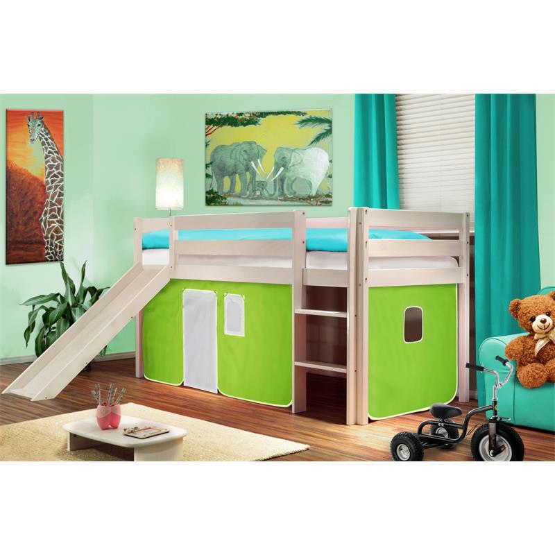 Hochbett Kinderbett Spielbett mit Rutsche Massiv Kiefer Weiß Grün/Weiß SHB/41/1032