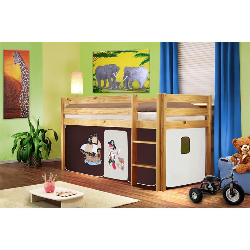 Cama alta cama de juego pino maciza natural/barnizado Pirata marrón/beige SHB/63/1035