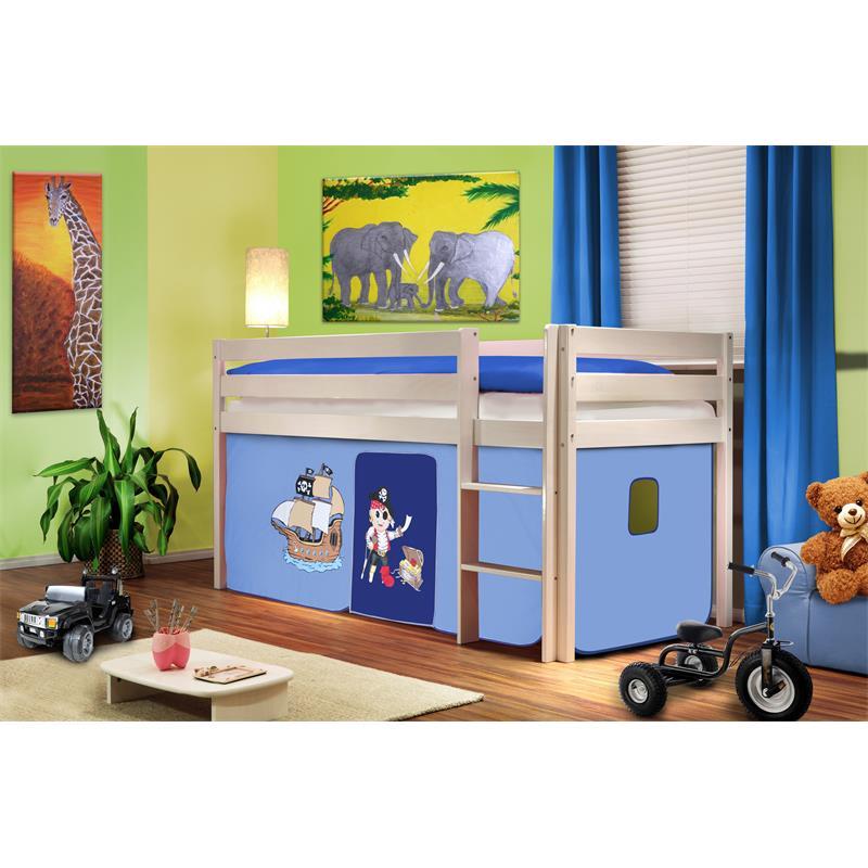 Hochbett Kinderbett Spielbett Massiv Kiefer Weiß Pirat Blau SHB/74/1034